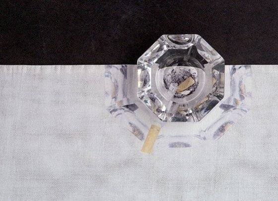 'Tabletalk', 2003, tablerunner, ashtray, cotton, digital print